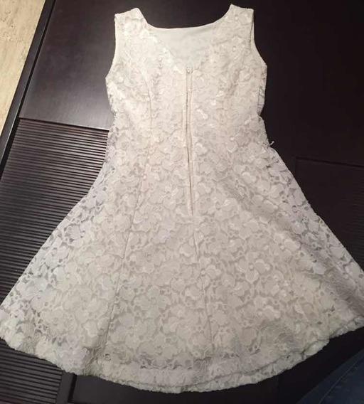 Vestido Blanco En Blonda Talla S