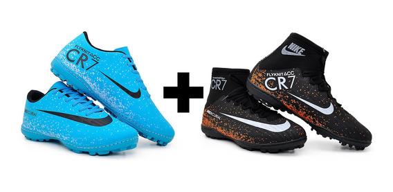 Kit 2 Pares Chuteira Nike Cano Alto+cano Baixo Society+meião