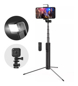 Pau De Selfie Com Flash Led Tripé Bluetooth Blitz Wolf Bs8