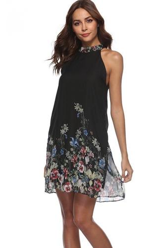 Vestido Talla M Floral De Gasa Nuevo Importado En Stock