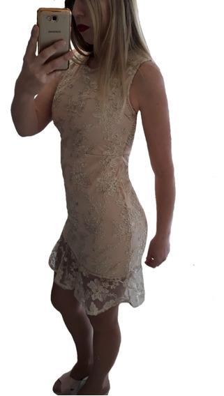 Vestido De Fiesta Microtul Bordado Civil Casamiento