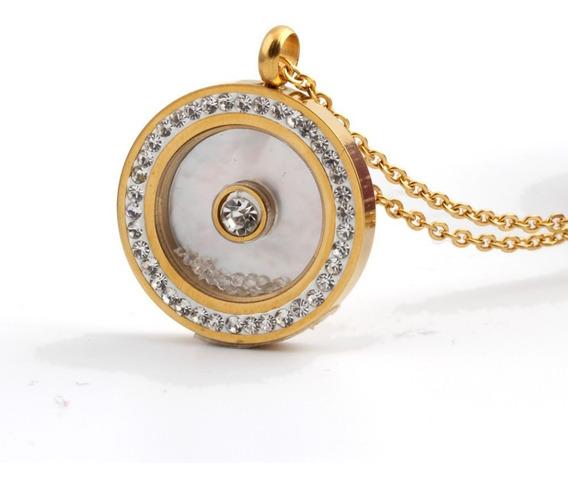 Colar Feminino Dourado Pingente Cristal Esposa Bodas C1015