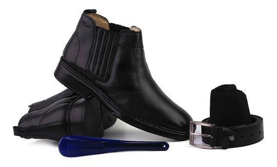 Kit Masculino Botina 1000 Em Couro Floater Preto Doctor Shoe