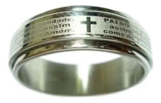 Anel Aço Inox Giratório Pai Nosso Prata Com Dourado Ref: 443