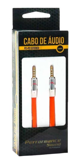 Cabo De Áudio P2 Para P2 Estéreo Chip Sce Laranja 2 Metros