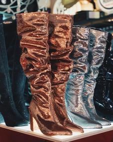 Zapatos Botas Caña Alta Bucaneras Lentejuelas Brillosas