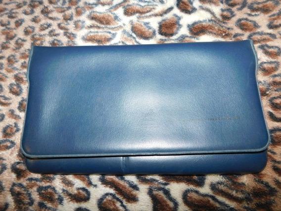 Cartera Sobre Bolso Billetera Azul Vintage Retro 60s 70s 80s Para Mujer