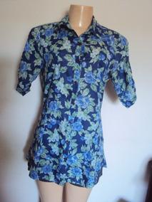 Mini Veste Florido Azul Feminino 100% Algodao Tamanho M