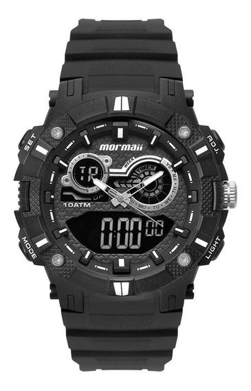 Relógio Masculino Mormaii Moad3781ab/8p 54mm Borracha Preto