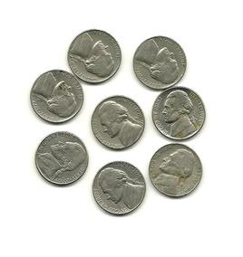 Lote P De 8 Moedas Five Cents Antigas