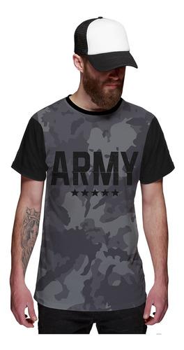 Imagem 1 de 5 de Camiseta Camuflada Army Grafite Exército