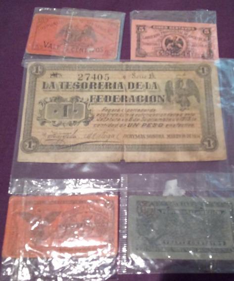 Billete De Un Peso Guaymas 1914 Y 4 Bilimbiques Mexicanos