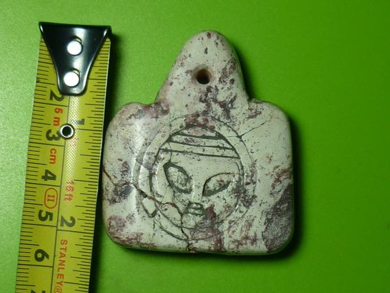 Antiguo Dije Raro Genuino Alien. Piedra Tallada. Ojuelos Jal