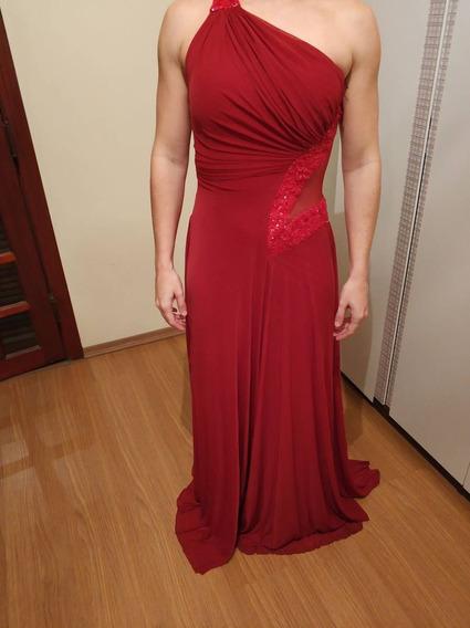 Vestido De Festa Vermelho Tule Madrinha Longo