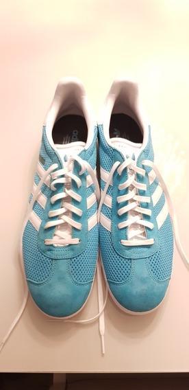 Tênis adidas Gazelle Nr 43 Azul Original Usado Uma Vez