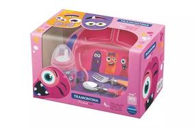 Kit Alimentação Infantil Tramontina Monsterkids 4 Pçs Rosa