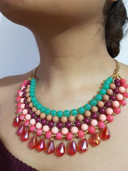 Collar Gargantilla Multicolor Gotas Casual Y Fiesta
