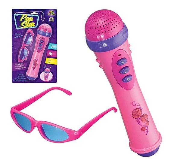 Microfone + Óculos Infantil Brinquedo Com Luz E Som Menina
