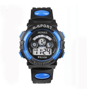Relógio Digital Infantil Honhx Azul Masculino + Brinde