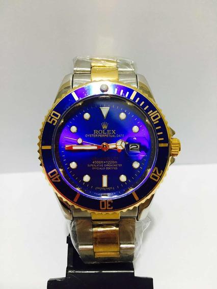 Relógio Em Aço Submariner Misto Azul