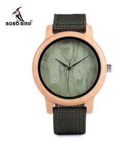 Relógio Unissex Bambu Madeira Bobo Bird D12 Pulseira Nylon