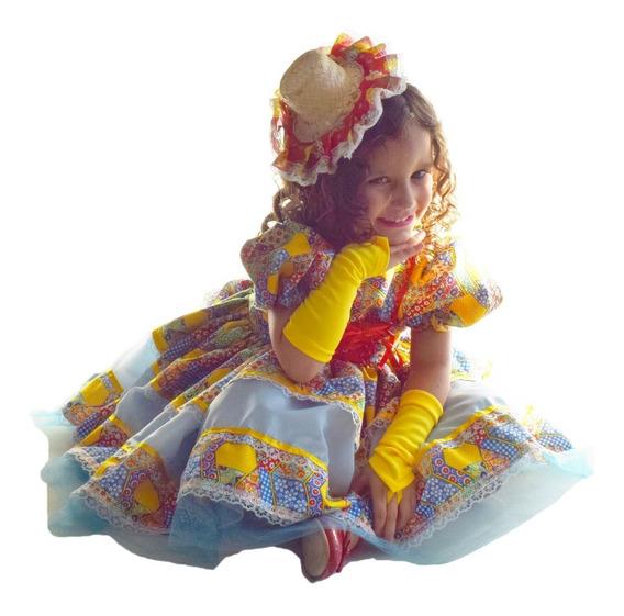 Vestido Festa Junina Caipira Azul Chique Infantil