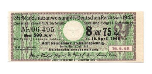 Alemania Cupón De Bono De 500 Marcos 1943