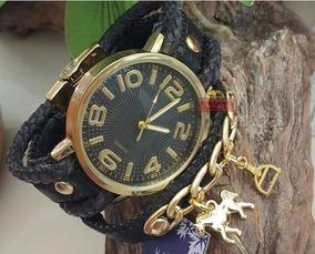Relógio Country Banhado Pulseira De Couro Artesanal Preto Ca
