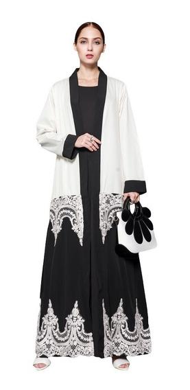 Mulheres Muçulmano Robes Floral Renda Longo Manga Abaya Kaf