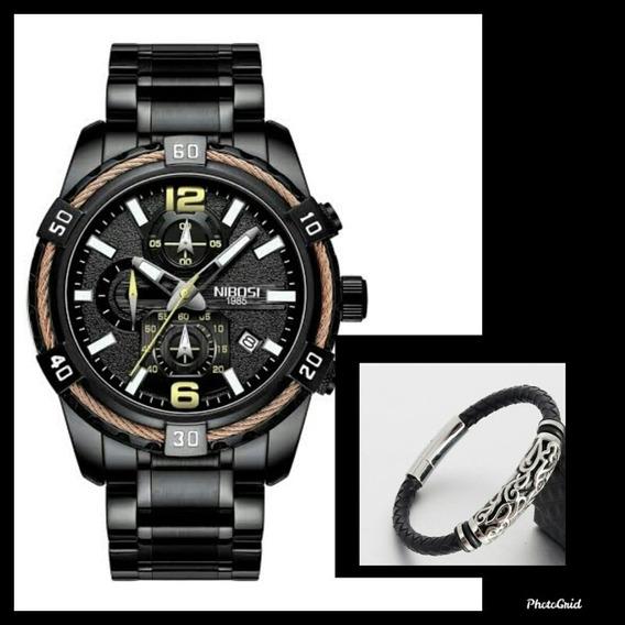 Relógio Nibosi Esportivo 2335 + Pulseira De Couro 20,50cm
