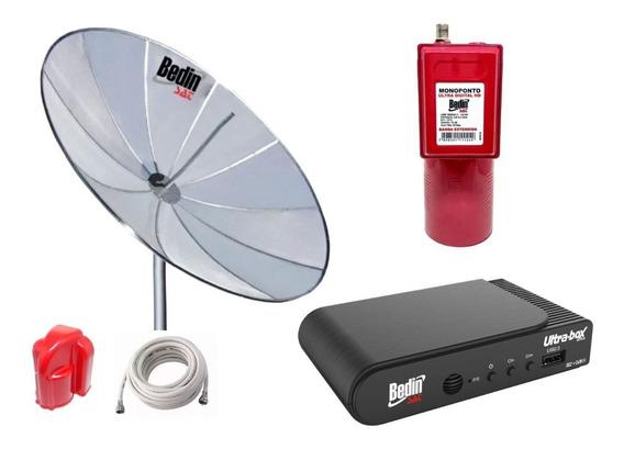 Antena Parabolica Tela 1,90 Mts Bedinsat E Receptor Ultrabox