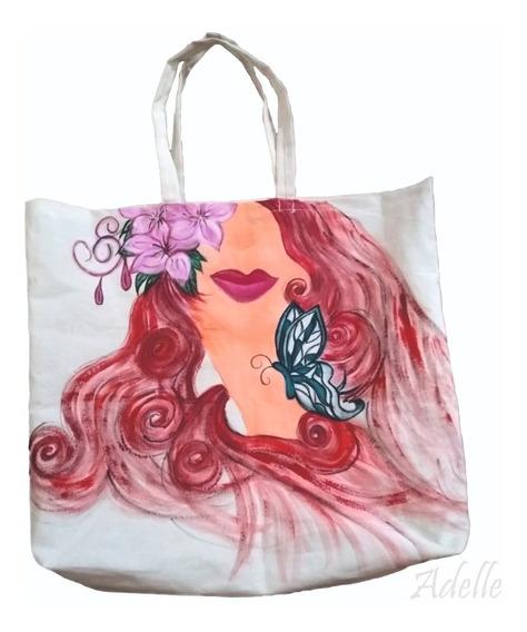 Cartera Mujer Bolso Para Playa O Compras Pintado A Mano
