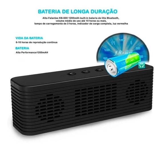 Caixa De Som Portátil Bluetooth Kb-600 Mp3 Usb Radio Microsd