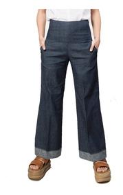 Jeans Mujer Pantalón Pata Ancha Elastizado Tiro Alto Giacca