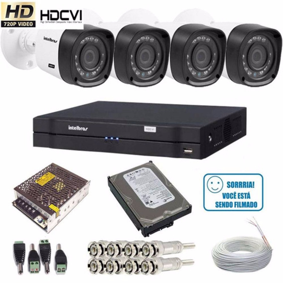 Kit Cftv 4 Câmeras Multi Hd 720p Dvr 4 Canais Intelbras 1008