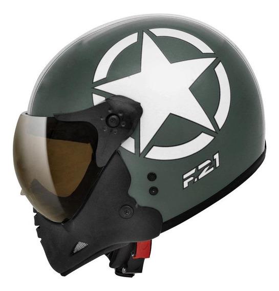Capacete para moto escamoteável Peels F-21 Army verde-militar/branco tamanho 58