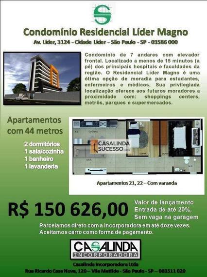 Studio Com 2 Dormitórios À Venda, 44 M² Por R$ 150.626 - Cidade Líder - São Paulo/sp - St0030