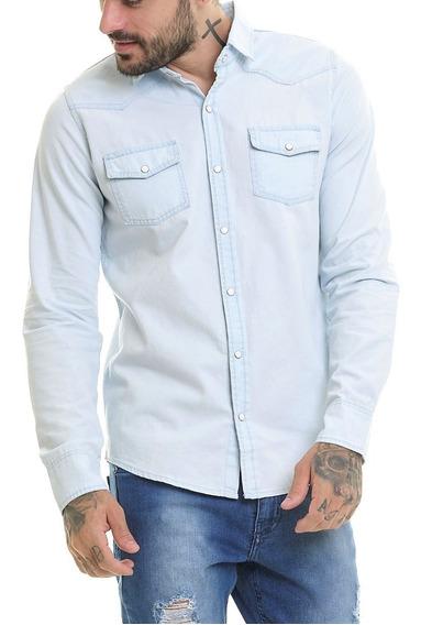 Camisa Premium Jeans Preta Masculina Super Slim Fit Offert