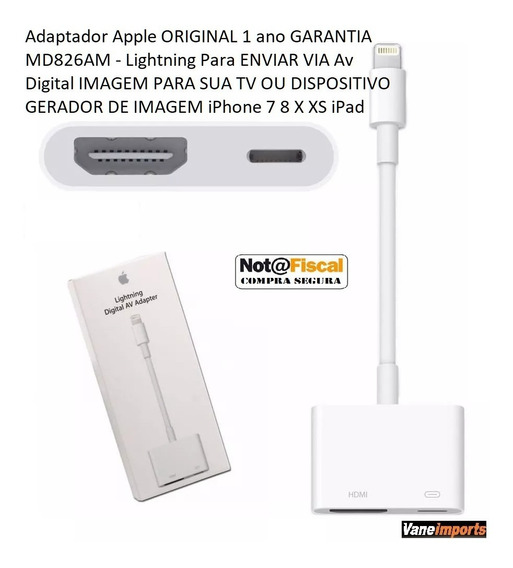 Adaptador Apple Original C/ Nota Espelhamento Netflix Na Tv