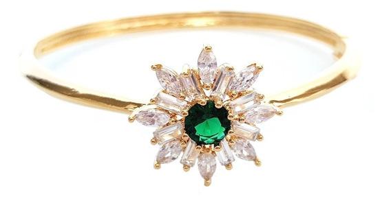 Bracelete Pulseira Feminina Flor Cristal Verde Semi Joia