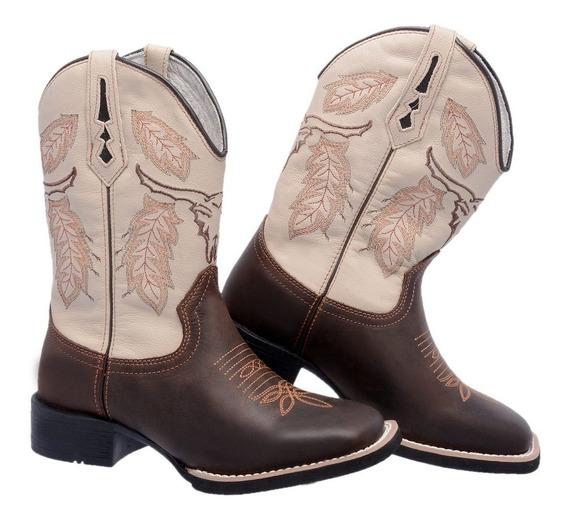 Bota Feminina Texana Botina Country Bico Quadrado Em Couro
