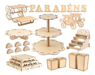 Kit Bandejas Provençal Porta Doces Mdf Cupcake Decoração