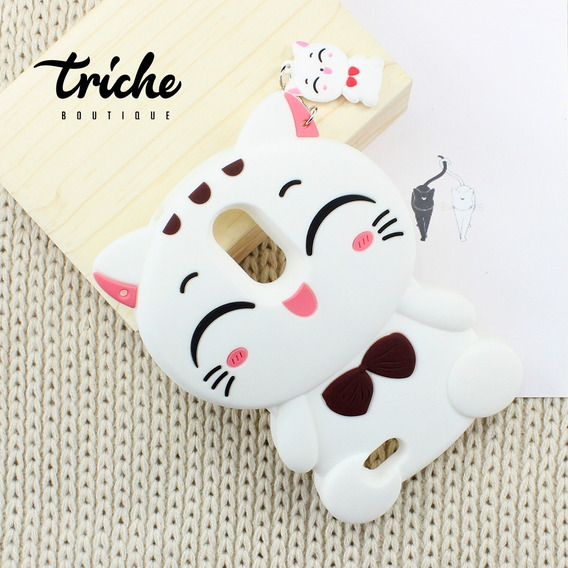 Funda Botarga Diseño Gatita Cat Color Blanco Lg K10 2017
