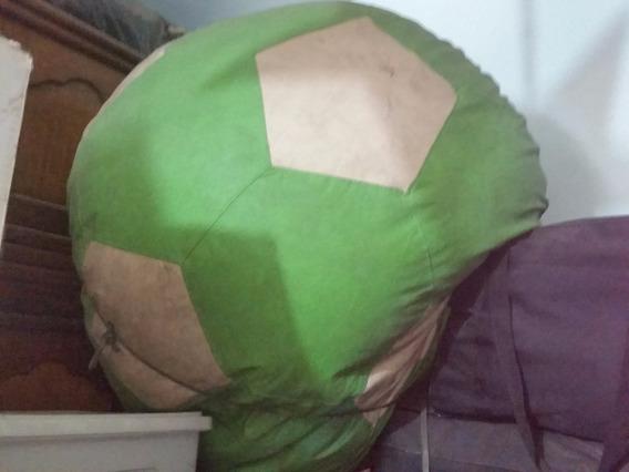 Puff Pufe Redondo Bola Futebol Verde E Creme Grande Courino