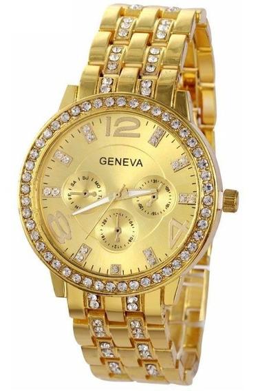Relógio Dourado Feminino Geneva Strass E Aço Inox Original