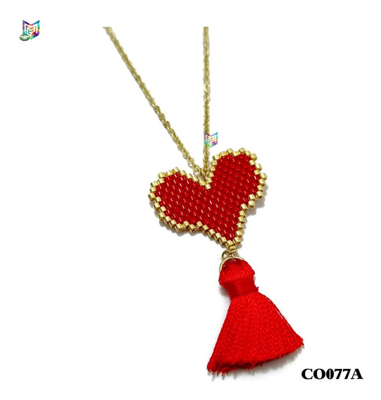 Collar Miyuki Corazón Rojo Acero Inoxidable Dorado