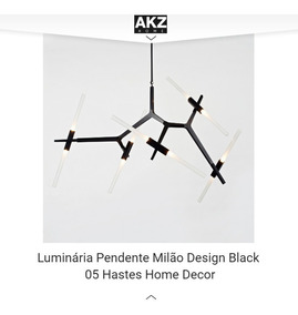 Luminária Pendente Milão Design Black 05 Hastes Home Decor