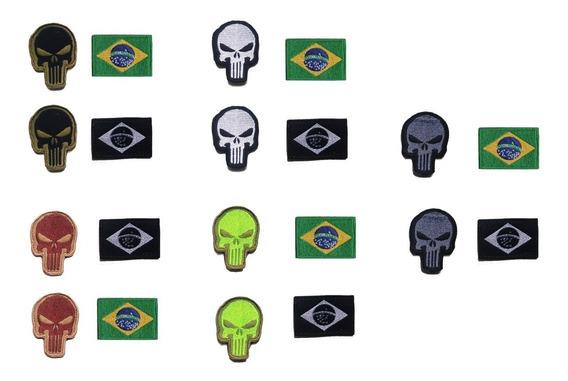 Patch Bordado Militar Justiceiro + Bandeira Do Brasil