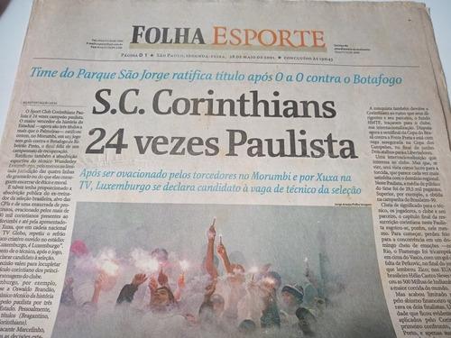 Jornal Folha Esporte Coríntias Campeao Paulista 2001