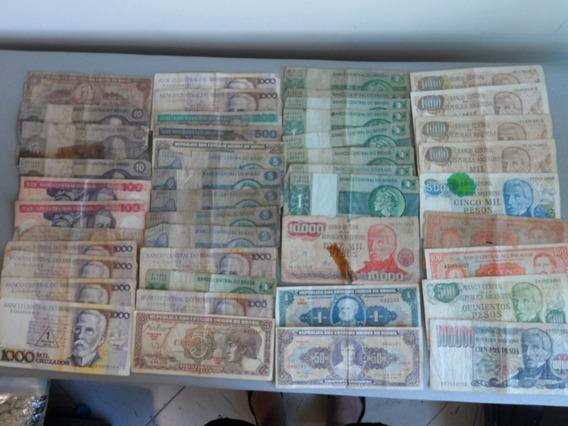 Notas Antigas, Lote Com 41 Notas, Cruzados, Guarani, Peso